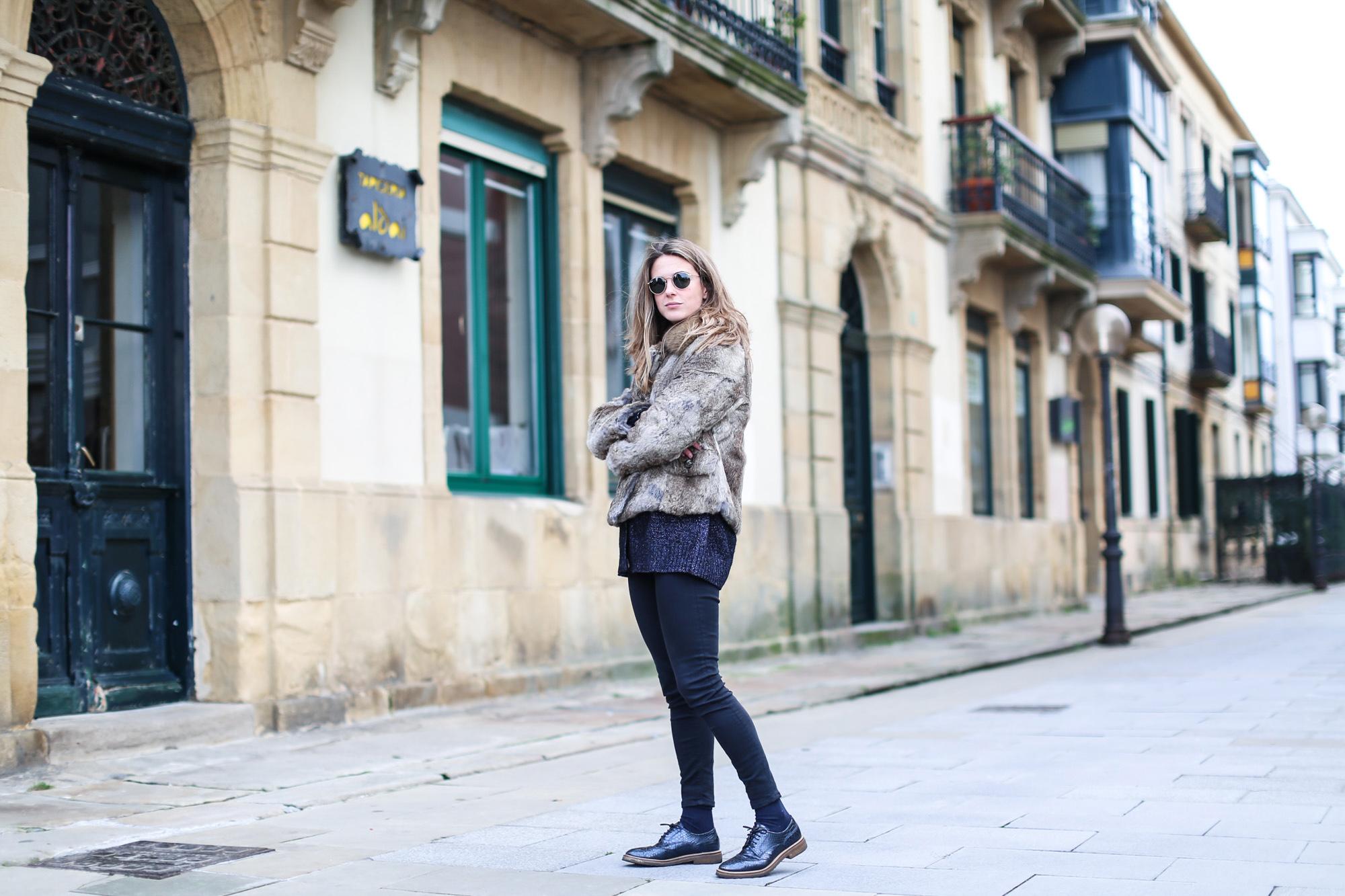 Clochet_streestyle_fashionblogger_topshopjamiejeans_zaranavyglitterknit_furcoat