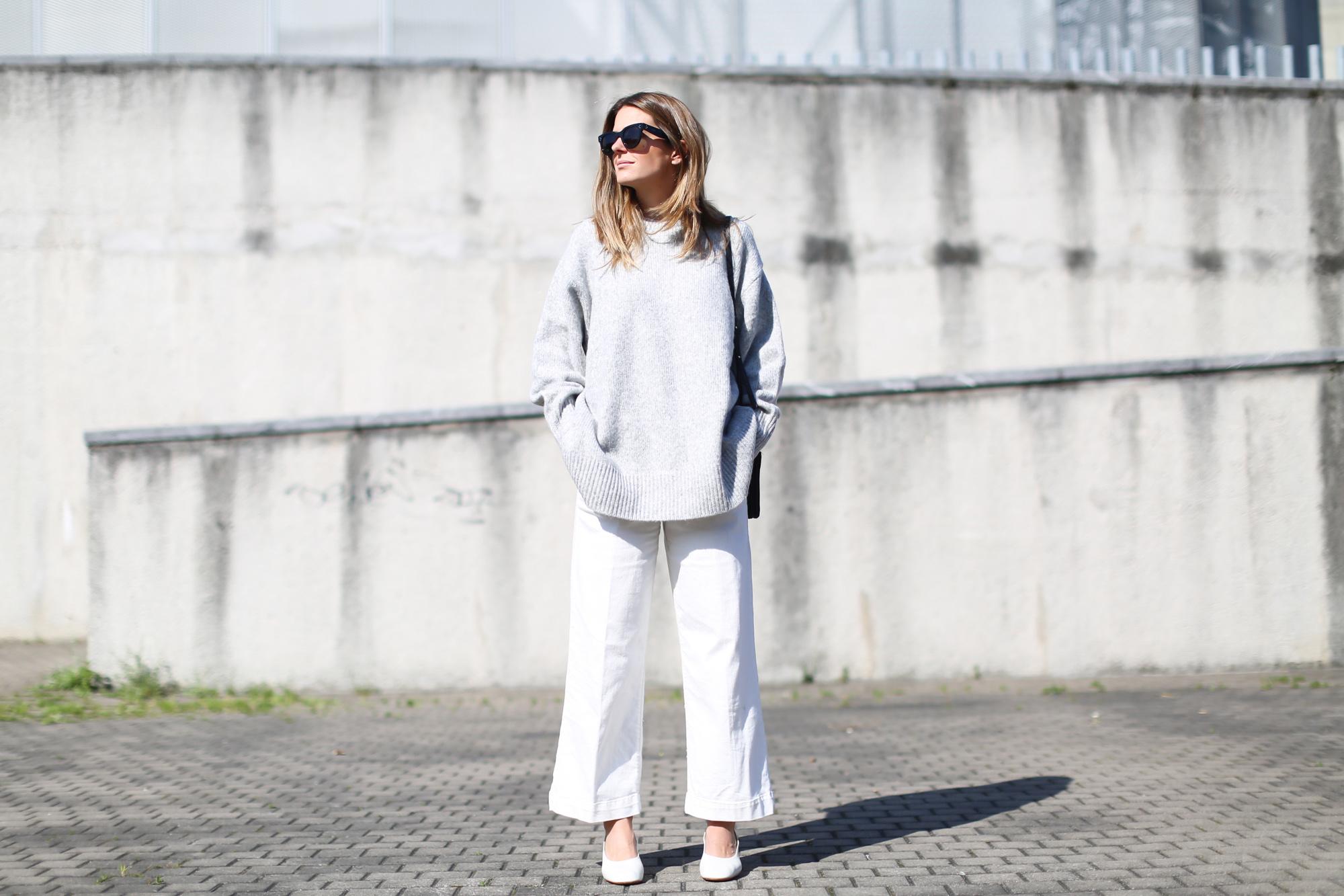 Clochet jersey extragrande gris lana zara