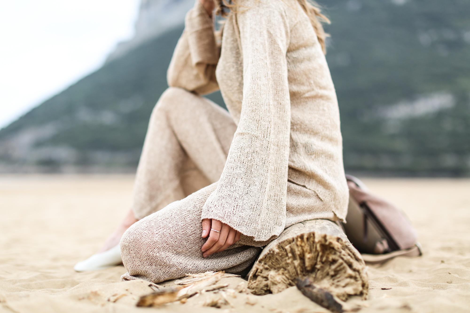 Clochet pantalon culotte Zara punto beige verano