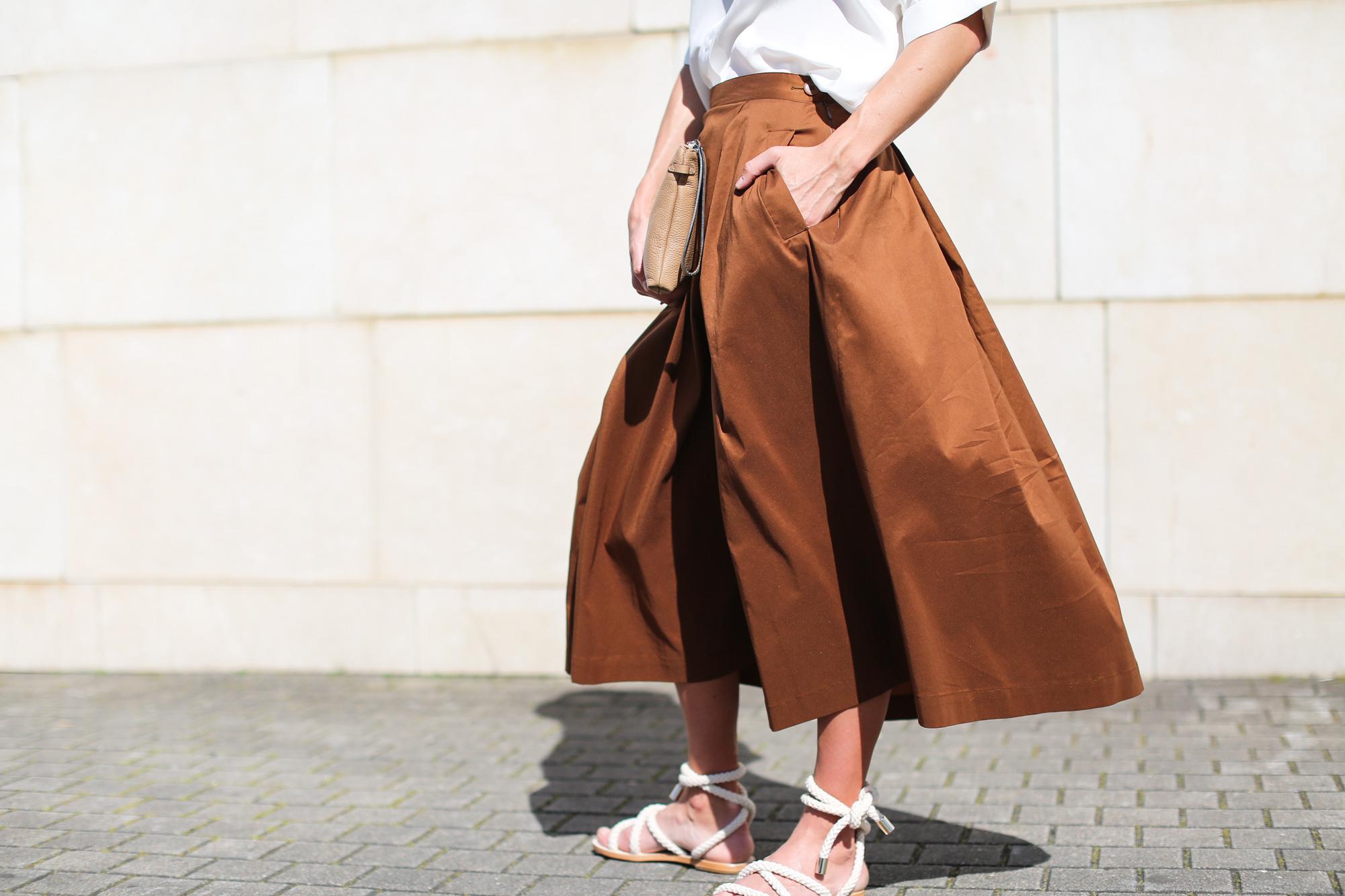 clochet falda midi marrón minimil