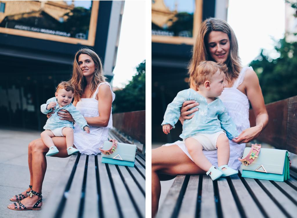 Mini vestido blanco Mango y pepitos piel bebé