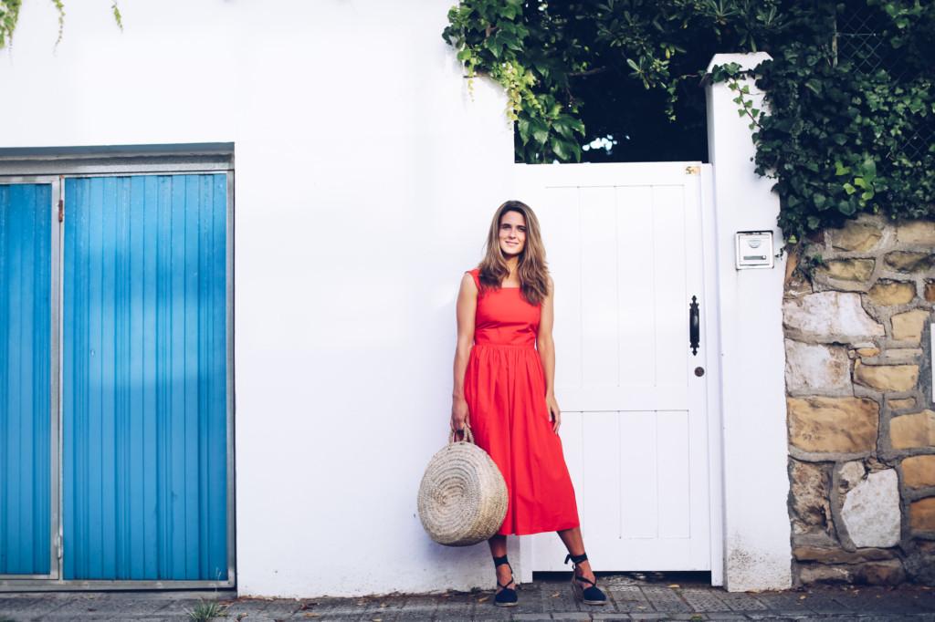 Vestido rojo midi COS