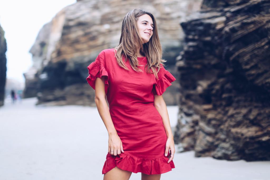 Mini vestido rojo volantes Mango