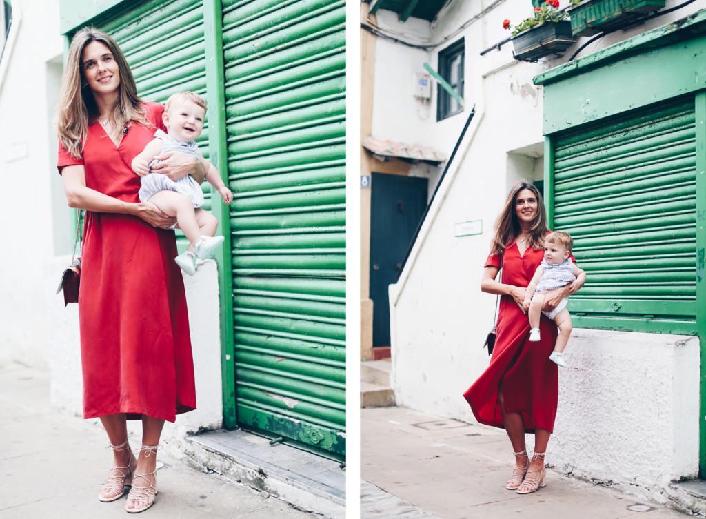 Vestido rojo midi Masscob