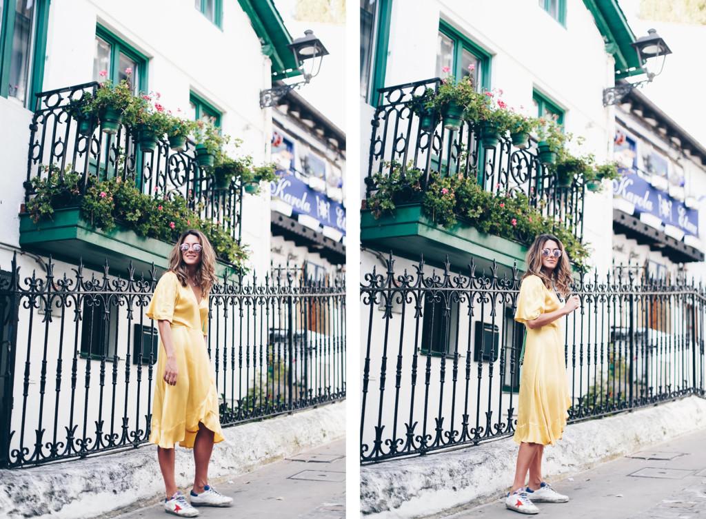 Vestido amarillo cruzad0 Mango