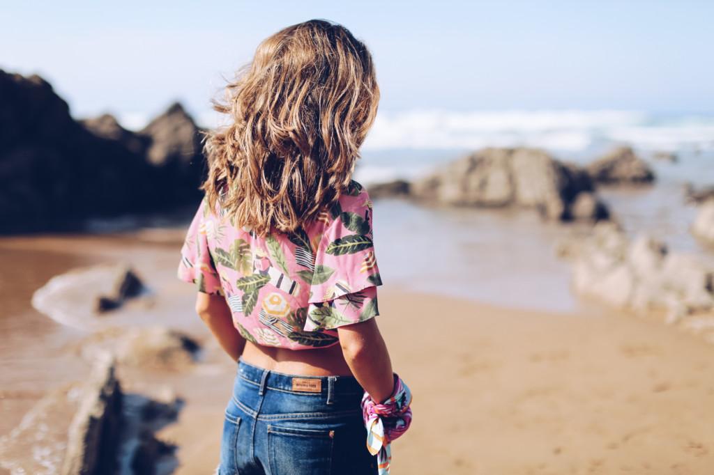 Camisa hawaiana rosa Mango
